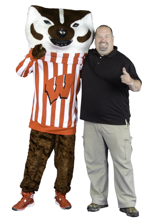 Tom Harron and Bucky Badger